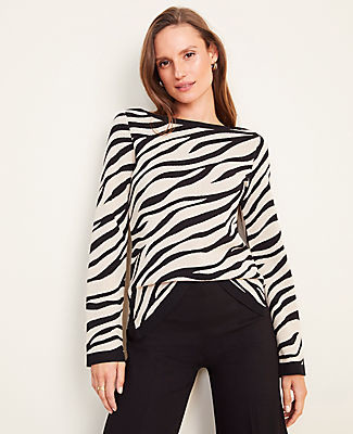 Ann Taylor Petite Zebra Print Seasonless Yarn Boatneck Sweater