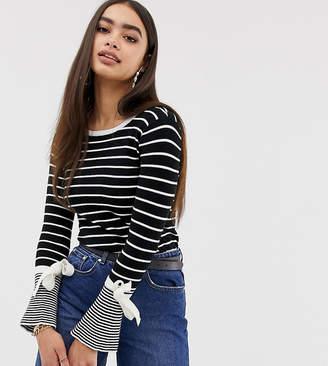 Missguided flared sleeve tie detail jumper in mono stripe