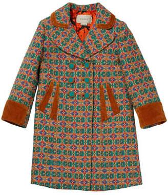 6ca80bb63 Gucci Girls' GG Long Coat w/ Contrast Piping & Cuffs, Size ...