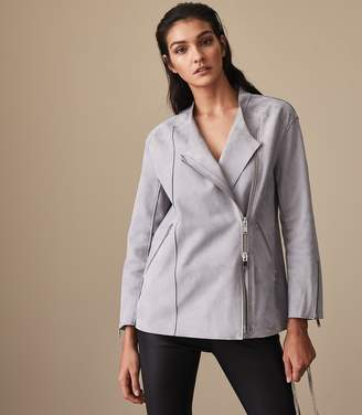 Reiss Our last order date for Christmas has now passed ANYA SUEDE JACKET Blue