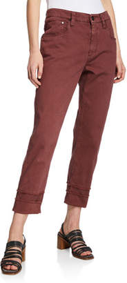 Brunello Cucinelli Frayed Cuff Cropped Jeans, Red