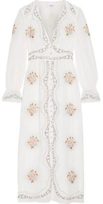 Vilshenko - Kora Embroidered Cotton-voile Midi Dress - Ecru $1,400 thestylecure.com