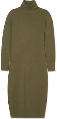 Joseph Sally Wool-blend Turtleneck Midi Dress - Army green