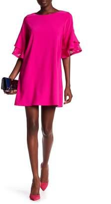 Laundry by Shelli Segal Laser-Cut Ruffle Sleeve Shift Dress