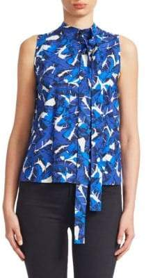 MSGM Floral Sleeveless Tie-Neck Top