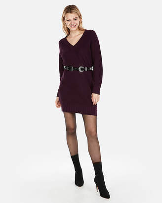 Express Shaker Knit V-Neck Sweater Dress