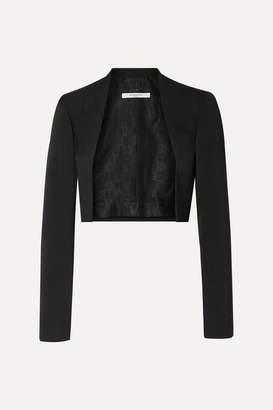 Givenchy Cropped Felt-trimmed Grain De Poudre Wool Blazer - Black