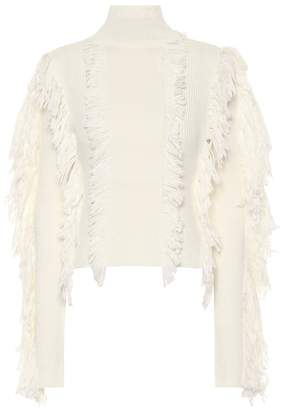 David Koma Fringed wool-blend sweater