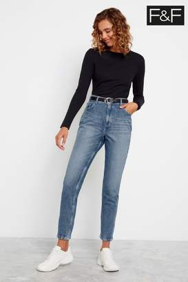 F&F Womens Mid Wash Mom Belted Jeans - Blue