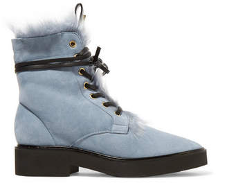 Stuart Weitzman Jissikia Shearling-lined Suede Ankle Boots - Light gray