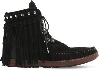EL VAQUERO 20mm Zoey Fringed Suede Ankle Boots