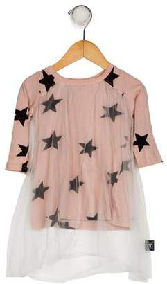 Nununu Girls' Mesh Printed Dress