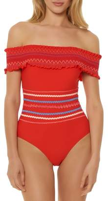 Red Carter Smocked Off the Shoulder Swimsuit