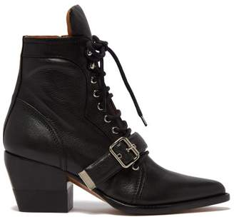 Chloé Rylee Grained Leather Ankle Boots - Womens - Black