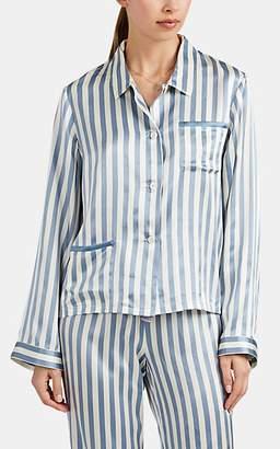 Morgan Lane Women's Ruthie Candy-Striped Silk Satin Pajama Shirt - Lt. Blue