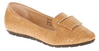 Victoria K Women's Croc Textured With Bow Ballet Flats