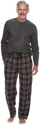 Chaps Men's Fleece Top & Plaid Flannel Lounge Pants Set