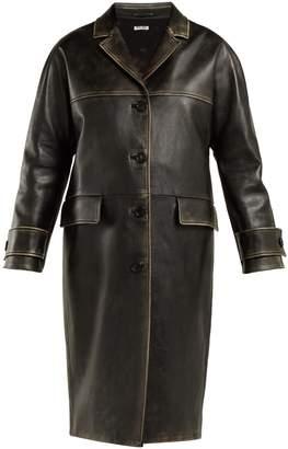 Miu Miu Long distressed-leather coat