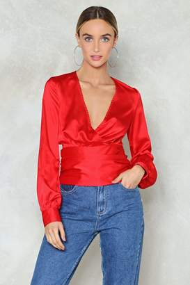 Nasty Gal Satin a Good Way Plunging Top