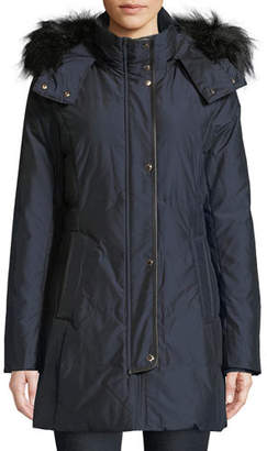 Cole Haan Silky Down-Fill Anorak Coat w/ Faux-Fur Hood