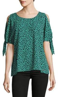 MICHAEL Michael Kors Cheetah-Print Cold-Shoulder Top