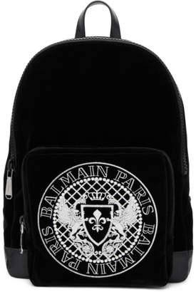 Balmain Black Velvet and Leather Beast Backpack