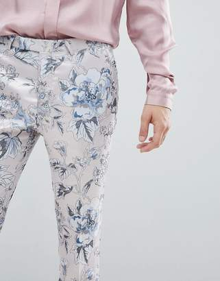 Twisted Tailor super skinny suit pants in pink metallic floral print