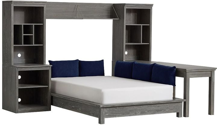 Stuff-Your-Stuff Platform Bed Super Set (Bed, Towers, Shelves + Desk), Full, WB Smoked Charcoal