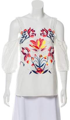 Tanya Taylor Embroidered Cold-Shoulder Top