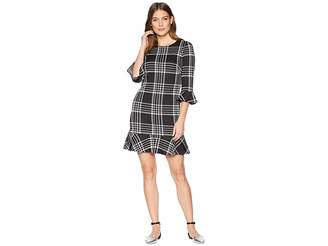 Chaps Plaid 3/4 Sleeve Day Dress