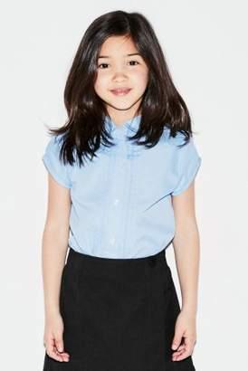 Next Girls Blue Short Sleeve Lace Trim Shirt (3-14yrs)