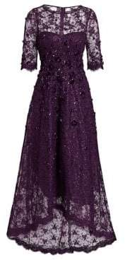 Teri Jon by Rickie Freeman by Rickie Freeman Women's Floral Appliqué Lace High-Low Gown - Purple - Size 12