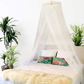 BOBOBEE - Premium Bed Canopy Mosquito Net Curtains Includes 3 Boho Pom Pom Decorations and Hanging Kit