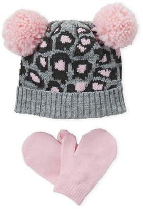 Capelli New York (Toddler Girls) Two-Piece Grey Leopard Pom-Pom Hat & Mittens Set