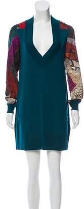 Just Cavalli Wool Long Sleeve Dress