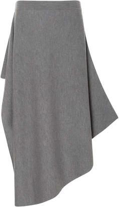 J.W.Anderson Asymmetric Merino Wool Midi Skirt