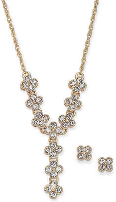 """Charter Club Gold-Tone Crystal Clover Lariat Necklace & Stud Earrings Set, 17"""" + 2"""" extender"""