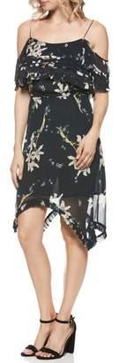 Paige Sahar Cold Shoulder Flutter Silk Dress