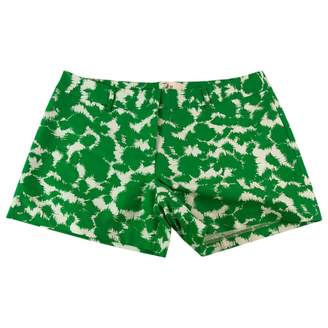 Milly Green Cotton Shorts for Women