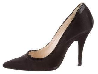 Pedro Garcia Pointed-Toe Satin Pumps
