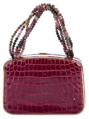 Darby Scott Alligator Necklace Bag Magenta Darby Scott Alligator Necklace Bag