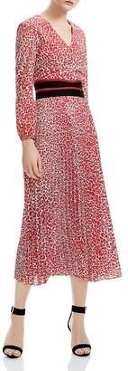 Maje Romilda Pleated Leopard-Print Midi Dress