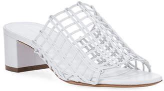 Mansur Gavriel Grid Metallic Leather Cutout Block-Heel Mule Slide Sandal