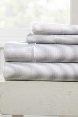 IENJOY HOME Our Elegant Pinstriped Pattern 4-Piece Sheet Set - Light Gray - Queen