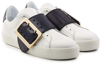 Burberry Leather Sneakers with Buckle Detail
