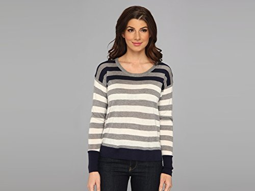 C&C California Women's Stripe Sweater with Back Placket Detail