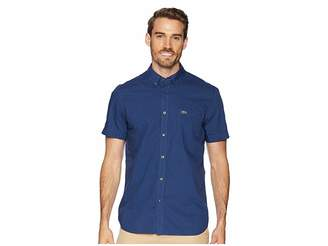 Lacoste Short Sleeve Regular Fit Gingham Poplin Button Down