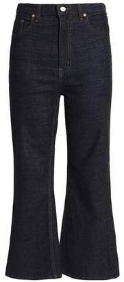 Stella Jean Cropped High-Rise Kick-Flare Jeans