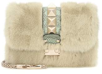 Valentino Lock Small snakeskin and mink fur shoulder bag