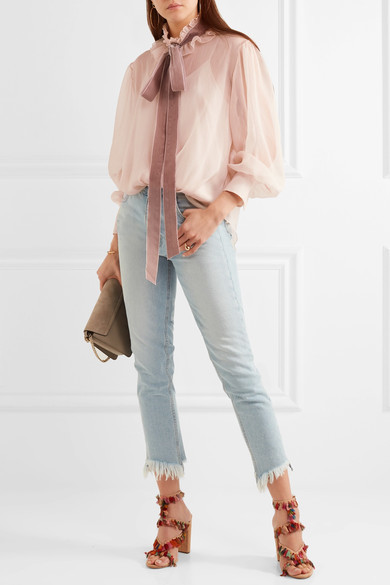 See by Chloé - Velvet-trimmed Pussy-bow Ruffled Crepon Blouse - Blush 4
